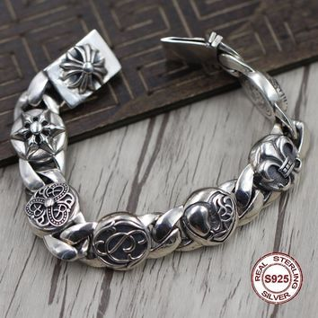 S925 Men's bracelet in Sterling Silver Personality trend Crusaders flower anchor hexagram domineering Punk style retro classic