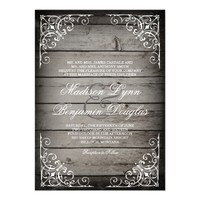 Vintage Rustic Wood Country Wedding Invitations