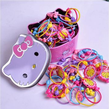 2018 Girls Hair bands Fashion Hello Kitty Box Packing Hair accessories 50 Pcs/lot Or 100 Pcs/lot Headband Children Rubber band