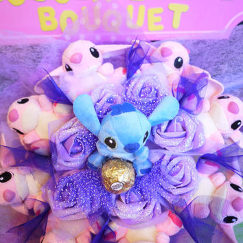 Stitch & Angel Plush Doll with Ferrero Rocher Flower Bouquet.