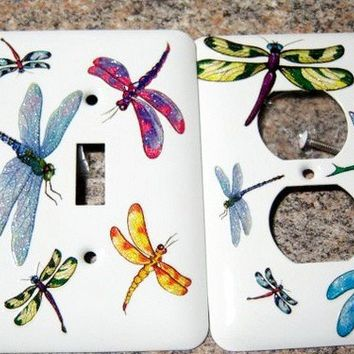 Dragonfly steel double light switch and by MoanasUniqueDesigns