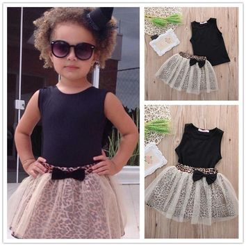 New Arrival Baby Girls Summer Clothes Sets Slim Black Vest + Lace Leopard Skirts Elegant Lovely Sets For Child