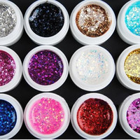 12 Color Large sequins Glitter UV Nail Gel Acrylic Polish styling nail tools makeup gel nail polish nails art M671