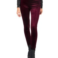 Velvet Leggings - Plum - Large - Plum /