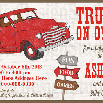 Old Vintage Truck Baby Shower Invitation - Printable