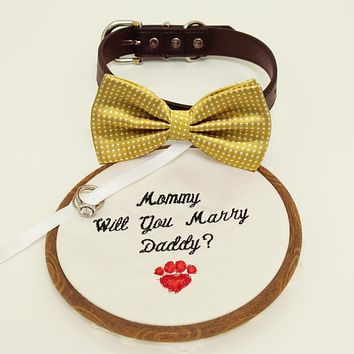 Mustard bow tie dog collar, Bow and handmade Embroidery sign attached to leather dog collar, will you marry me, Marry me sign, ring bearer