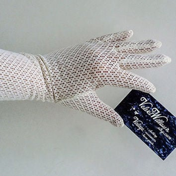 1950s White Mesh Nylon Grandoe Gloves Vintage 50s 60s Fishnet Formal Accessory