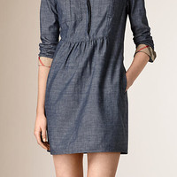 Gathered Detail Chambray Tunic Dress