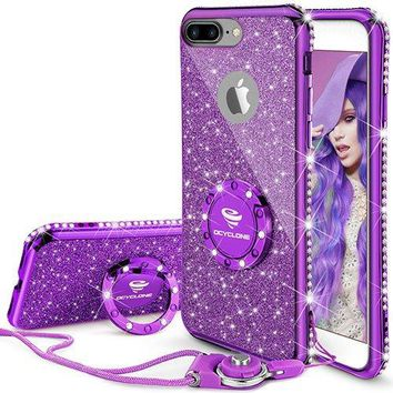 iPhone 7 Plus Case, iPhone 8 Plus Case, Glitter Cute Phone Case Girls with Kickstand, Bling Diamond Rhinestone Bumper Ring Stand Thin Soft Protective iPhone 7 Plus/ 8 Plus Case for Girl Women - Purple