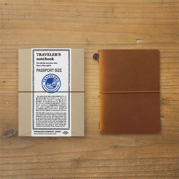 Midori Traveler's Note Leather Journal Starter Kit Passport Edition Camel