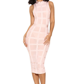 Clothing : Bandage Dresses : 'Marsha' Light Pink Bandage Dress with Sheer Mesh