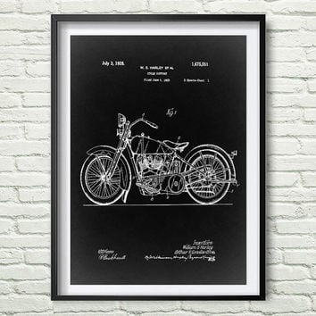 Motorcycle Harley 1928 Patent Art Illustration, White, black, gray, blue Printable INSTANT DOWNLOAD Get 5 Colors Background *3*
