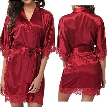 Ladies Women's Lace Sleepwear Robe Summer Middle Lace Sleece Bathrobe Sexy Lingerie Night Gown Thongs