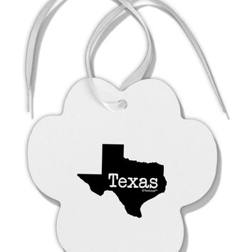 Texas - United States Shape Paw Print Shaped Ornament by TooLoud