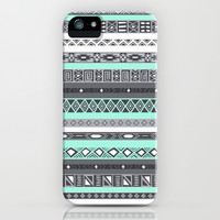 Pastel Mint / Pale Turquoise Tiffany Aztec Tribal Pattern iPhone & iPod Case by RexLambo