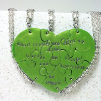 Best Friend Necklaces Set of 6 Good Friends Saying Interlocking Necklaces Lime Pearl Polymer Clay