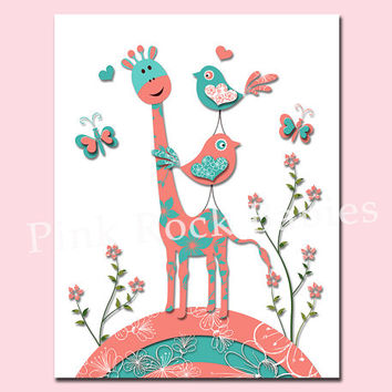 Nursery giraffe art poster baby girl room wall decor toddler art playroom decoration kids artwork newborn gift turquoise salmon birds print