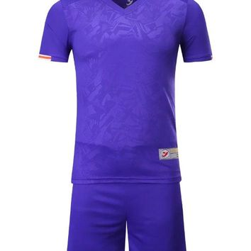 2018  Violet  Boys Kids Training T-shirts children sets runing football kits soccer team jersey Sports Athletic wear polo shirt