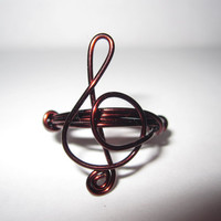 Treble Clef Ring Brown Copper Wire Wrapped