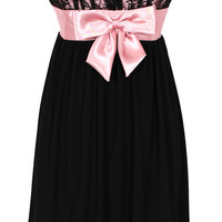 Strapless Lace and Satin Cocktail Prom Little Black Dress | Prom MidLength Dresses