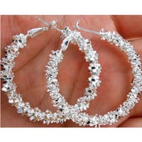 1 Pair Fashion Women Jewelry Silver Plated Big Circle Large Round Stars Hoop Earring