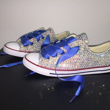 All Star Chuck Taylor Converse Bedazzled In AB Crystal Sapphire Blue Laces