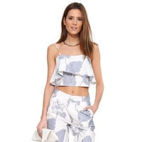 White Leaf And Floral Print Spaghetti Strap Double Layer Top With Paired Shorts