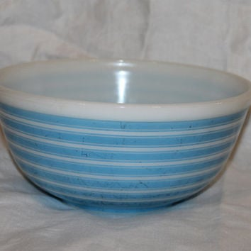 Vintage Pyrex Bowl Blue Stripe- Rainbow Stripe-Serving- Mixing Bowl- #403- 2.5 Quart- Made in U.S.A.- Ovenware