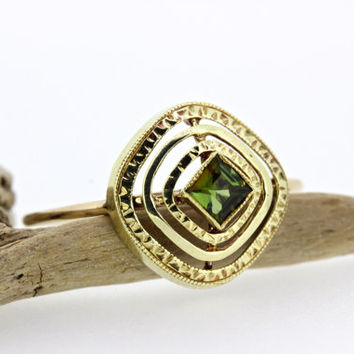 Antique Stacking Ring | Green Tourmaline Ring | Dainty Gemstone Ring | Yellow Gold Stick Pin Ring | Alternative Engagement Ring | Size 6 1/3