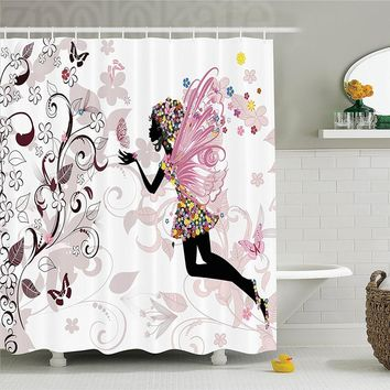 Black Pink Floral Fairy Shower Curtain