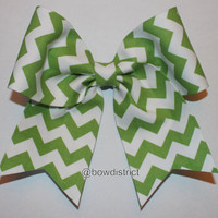 3 Green and White Chevron Cheer Bow by BowDistrict on Etsy