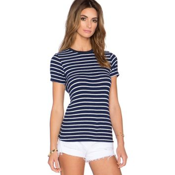 Stripe Short Sleeve Sweater Shirt