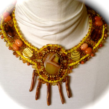 Fun and Funky Beaded Necklace, Yellow and Orange Beaded Collar, Yellow Coral, Yellow and Orange Quartz Cabachon