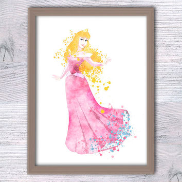 Disney Princess Aurora Sleeping Beauty Watercolor Poster silhouette print kid room decor baby shower gift Disney art V80