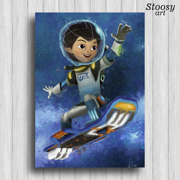 miles from tomorrowland print disney art kids watercolor
