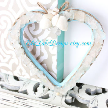 Sea Glass Heart  Frame Vintage HOMCO Beach Wedding Decoration Photo Prop & Coastal Home Decor