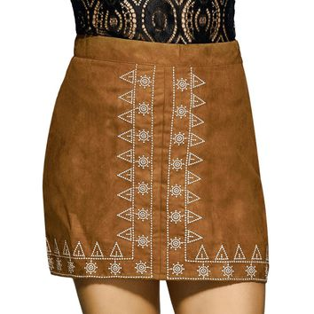 Old Classical Embroidery Print Bodycon Sheath Women Skirt