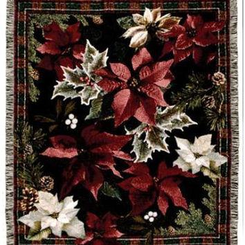 Throw Blanket - Christmas Poinsettia Theme