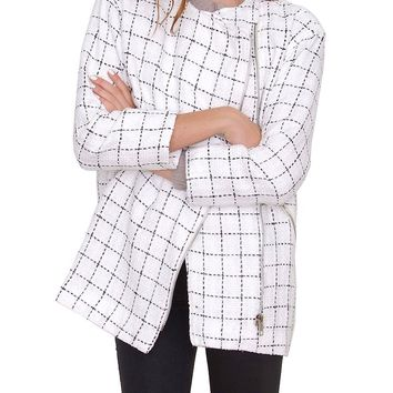 Cubic Oversized Tweed Coat - White/Black