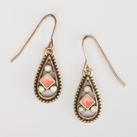 Small Coral Enamel Drop Earrings