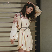 Jastie Inspired Embroidered Mini Dress O-Neck Upper Back Cutout Women Dress Long Sleeve Hippie Chic Summer Vestidos Boho Beach