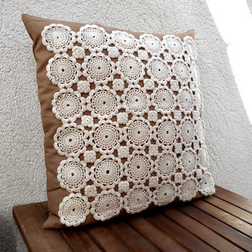 "Throw pillow cover, Decorative pillow, Shabby chic pillow, Brown pillow, Lace pillow, Pillow cover 18x18"", Crochet pillow, Home decor pillow"