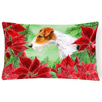 Fox Terrier Poinsettas Canvas Fabric Decorative Pillow CK1298PW1216
