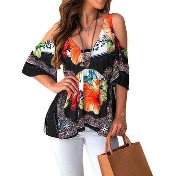 STYLEDOME Women Blouse Summer Floral Half Sleeve Blouse Top Womens Tops And Blouses Off Shoulder Top Plus Size Ladies Blouses Blusas Mujer