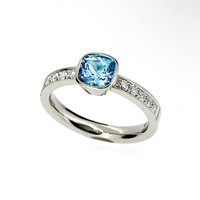 Cushion cut swiss blue topaz ring, engagement ring, diamond engagement blue topaz engagement, bezel, solitaire, unique, white, milgrain