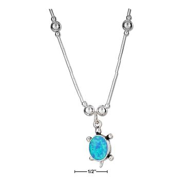 "STERLING SILVER 16"" SYNTHETIC BLUE OPAL TURTLE NECKLACE"