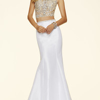 Sheer Two Piece High Neck Prom Dress by Mori Lee
