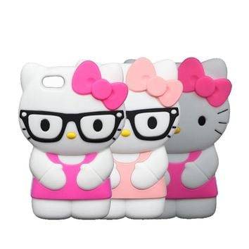 3D Cute Cartoon Glasses Hello Kitty Case For iPhone 6 Plus 6S Plus 5.5 inch KT With Bow Silicone Cover