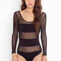Stripe Mesh Bodysuit  in  Clothes at Nasty Gal