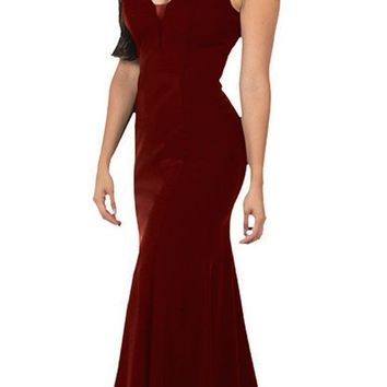 V-Neck and Back Burgundy Evening Gown Sleeveless